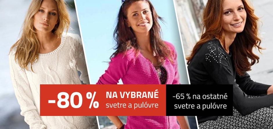 -80% na vybrané svetre a pulóvre, -65 % na ostatné  svetre a pulóvre